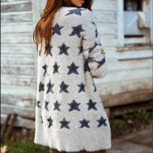 American Eagle Star Fuzzy Duster Cardigan Sweater